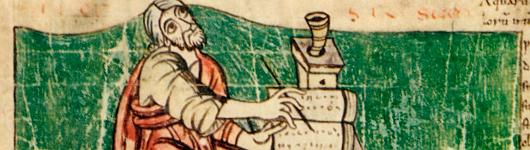 Bild [1]: Schreiber, Stuttgarter Bilderpsalter, Ende des Prologs (Ausschnitt)