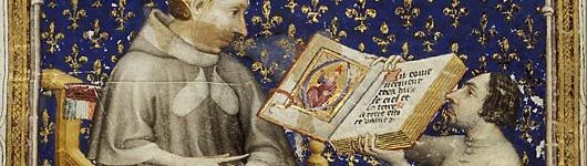 Bild [1]: Jean de Vaudetar präsentiert sein Werk als Geschenk König Karl V.
