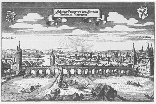 Kupferstich Steinerne Brücke Regensburg, 1644