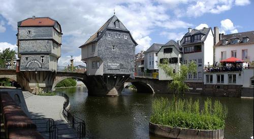 Ansicht Alte Nahebrücke Bad Kreuznach, linker Brückenarm mit Brückenhäusern, 2015