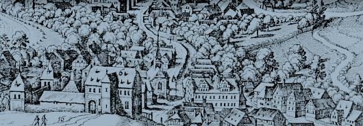 Blick von Westen her hinab auf Langenschwalbach (alter Name von Bad Schwalbach) (Ausschnitt); Matthaeus Merian (Topographia Hassiae, 1631)