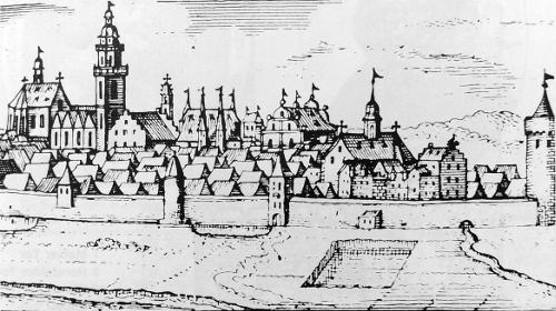 Bild [2]: Zeichnung der Stadtbefestigung mit dem Pulvertrum, Hundsturm, Mainer Tor und Leonhardsturm