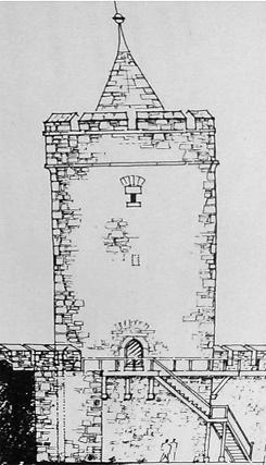 Bild [11]: Skizze der Ansicht des Leonhardturmes mit Wehrgang, Stadtinnenseite