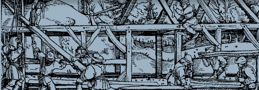 Bild [1]: Aufschlagen eines Fachwerkbaus (Ausschnitt)
