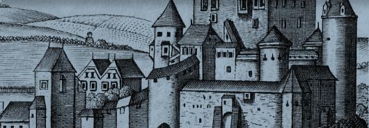 Bild [1]: Burg Pirrhnstein, Stich von Georg Mathäus Vischer, Topographia Austriae Superioris Modernae. (Ausschnitt), 1674