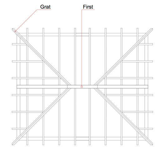 Pfettenkonstruktion, Grundriss Dachstuhl